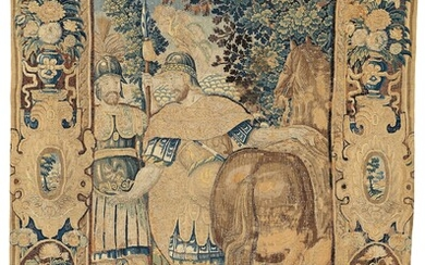 """A TAPESTRY, tapestry weave, probably """"Godfrey of Bouillon"""", ca 331 x 234,5-237 cm, Flanders 17th century."""