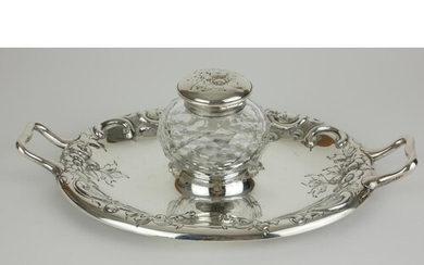 A VICTORIAN SILVER AND CUT LEAD CRYSTAL OVAL INKSTAND With t...
