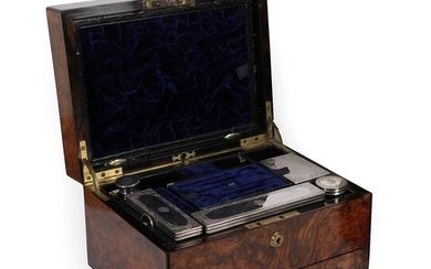 A Victorian Walnut Cased Travelling Toilet Set, by Samson Morden,...