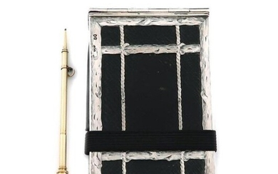 A Victorian silver-mounted black leather aide memoire, by Henry Dee, London 1868, rectangular form, engraved borders and with simulated rope-work decoration, the interior with two black leather wallet compartments for visiting cards, stamped in gilt...