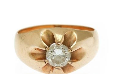 A diamond ring set with a brilliant-cut diamond, mounted in 14k gold. Size 51.