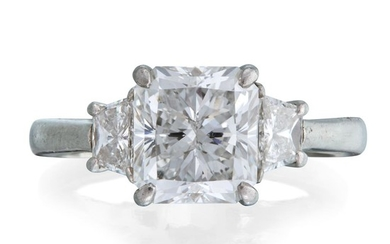 A diamond solitaire centering a radiant-cut diamond weighing approximately...