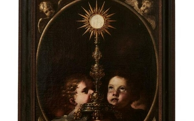 A holy monstrance surrounded by putti, Naples school