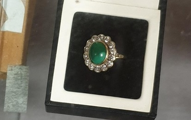 A ladies 18k gold dress ring with green stone surrounded by ...