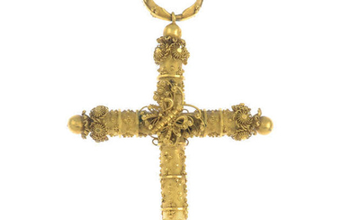 A late Georgian 18ct gold cross pendant, with glazed panel and butterfly accent.