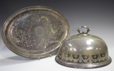 A late Victorian Elkington & Co plated oval meat dome with engraved decoration, length 35cm, tog