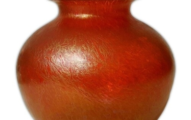 A later 20th Century Royal Brierley Studio glass vase of sph...