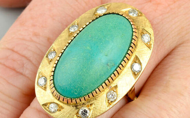 A mid 20th century 18ct gold turquoise and brilliant-cut diamond textured dress ring.