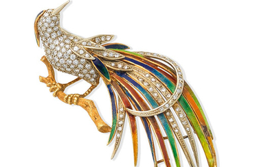 A mid 20th century enamel and diamond bird of paradise brooch