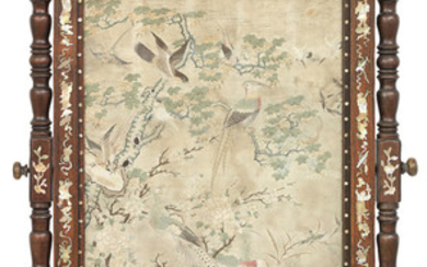 A mother-of-pearl inlaid hongmu floor screen with embroidered panel
