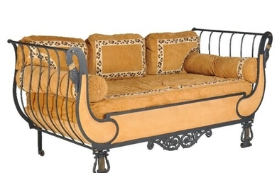 A painted cast iron sofa, in Empire style, 20th century, wit...