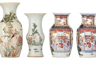 A pair of Chinese famille rose vases, decorated...
