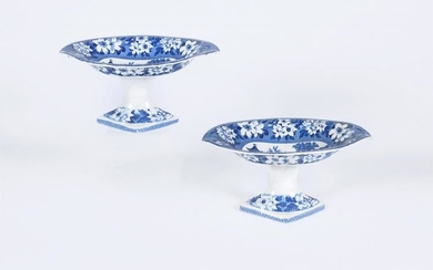 A pair of Roger's blue and white printed 'Elephant' pattern comports