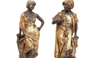 A pair of late 19th/early 20th century Austrian cold painted bronze Orientalist figures of a of a Moor and his female companion
