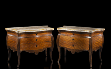 A pair of rosewood and various woods veneered and...