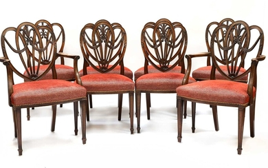 A set of eight Sheraton revival shield back mahogany dining chairs