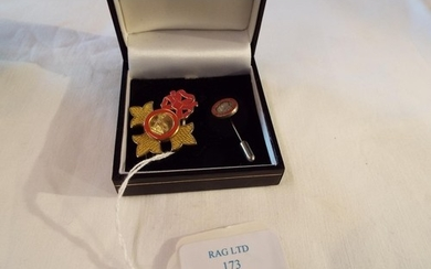 A silver enamelled miniature ladies OBE pendant/brooch toget...