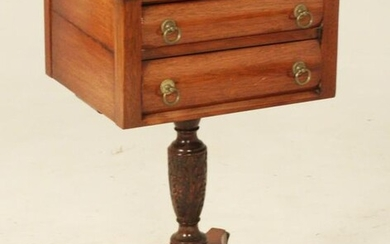 AMERICAN CLASSICAL EMPIRE MAHOGANY 2 DRAWER WORK TABLE