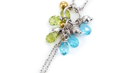 AN 18CT WHITE GOLD GEMSET PENDANT NECKLACE; flat cable link chain attached with tassel charm of briolette cut peridot and topaz and...