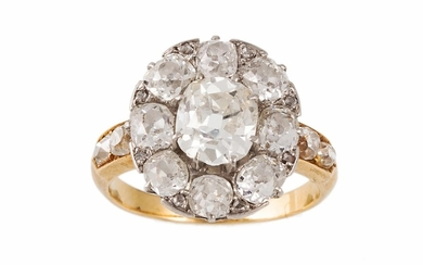 AN ANTIQUE DIAMOND CLUSTER RING, set with old mine cut diamo...
