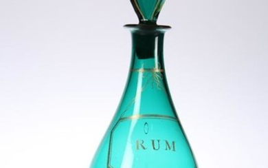 AN EARLY 19TH CENTURY GREEN GLASS RUM DECANTER, with