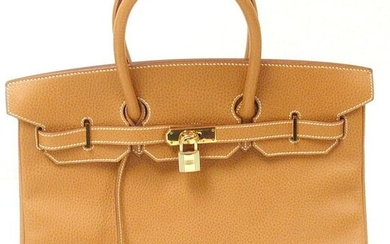 AUTHENTIC GREAT CONDITION HERMES 35CM NATURAL ARDENNES