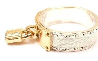 """AUTHENTIC HERMES STERLING SILVER 18K YELLOW GOLD """"H"""""""