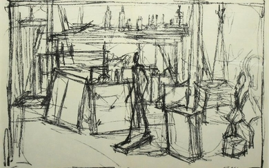 """Alberto Giacometti - Untitled from """"Derriere le Miroir."""
