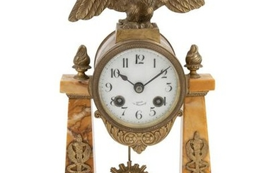 An Empire Style Gilt Bronze Mounted Marble Mantel Clock