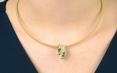 An emerald and diamond pendant, with 18ct gold snake-link chain.
