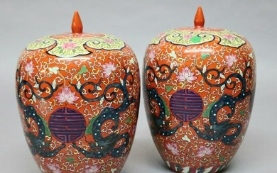 Pair Antique Chinese Enameled Porcelain Polychrome Urns