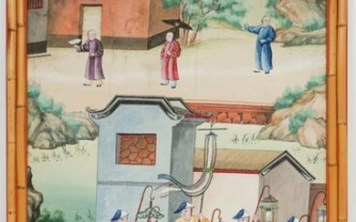Antique Hand-Painted Chinese Large Wallpaper Panel