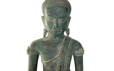 Antique Khmer Style Bronze Seated Meditation Buddha