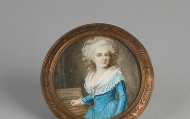 Antique miniature painting. Bust lady with jewelry.