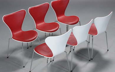Arne Jacobsen. 'Series 7' dining chairs / stacking chairs, model 3107 (6)
