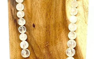 Bactrian Ancient Hand-Carved Clear Quartz - 62 cm Melon Beads Necklace