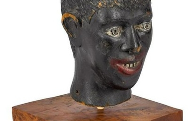 Black Americana carved and painted head of a man