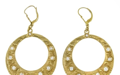 Brilliant earrings GG 585/000 with 20 diamonds, total...
