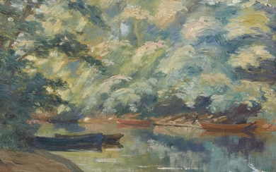British School, late 19th/early 20th century- River landscape with boats;...