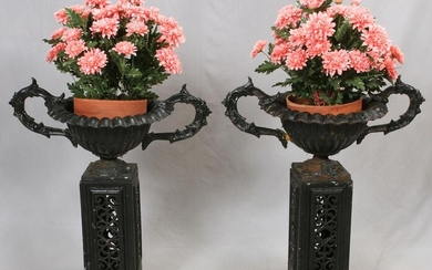 CAST IRON AND ALUMINUM FLOOR PLANTERS TWO