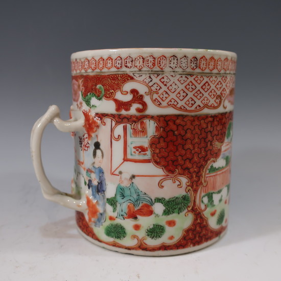 CHINESE ANTIQUE FAMILLE ROSE COFFEE MUG CUP - 18TH CENTURY