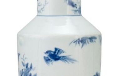 CHINESE BLUE AND WHITE PORCELAIN VASE In rouleau form, with a bird and flower design. Six-character Yongzheng mark on base. Height 1...
