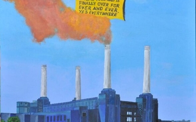 CHRIS MASON (born 1976) Power station with two voluptuous ladies and a helicopter with a big sign 2017 acrylic on canvas