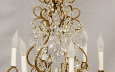 CRYSTAL GILT METAL LIGHT CHANDELIER 20TH C. 29 20