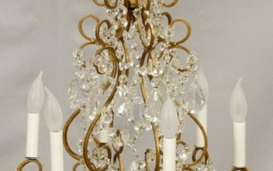 CRYSTAL & GILT METAL 7 LIGHT CHANDELIER, 20TH C.