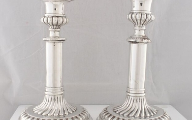 Candlestick, A Pair of George III Candlesticks (2) - .925 silver, Silver - John & Thomas Settle, Sheffield - England - 1816
