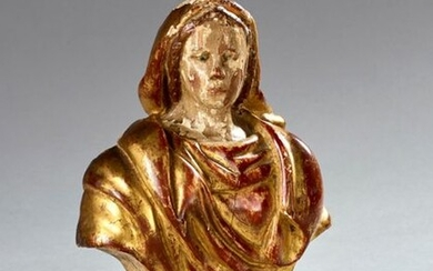 Carved and gilded wooden relic representing the bust...