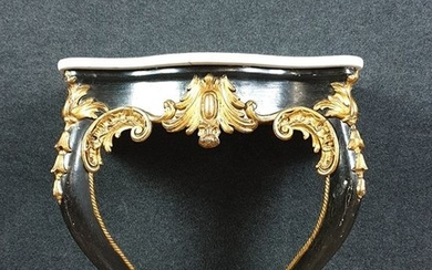 Ceremonial console Louis XV period lacquered and gilded later - Wood - Mid 19th century