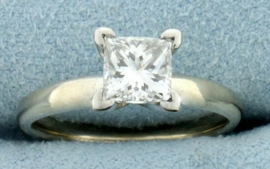 Certified 1ct Princess Diamond Solitaire Engagement