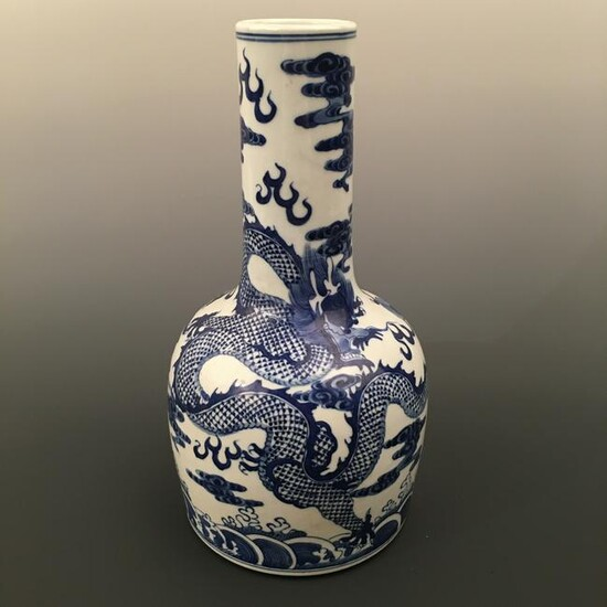 Chinese Blue-White Dragon Bottle Vase, Kangxi Mark